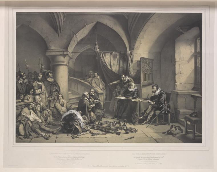 """Lithographie allemande vers 1837-1842 représentant la condamnation d'une """"bande de gitans"""""""